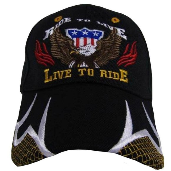 Ride To Live Live To Ride Patriotic USA Eagle Black Ball Cap Hat